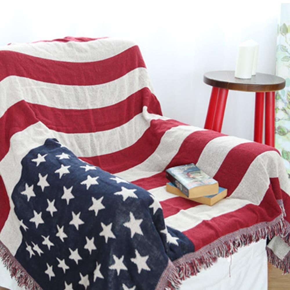 Yazi Amerika Stil 100% Baumwolle Werfen Doppel Konfrontiert Flagge ...
