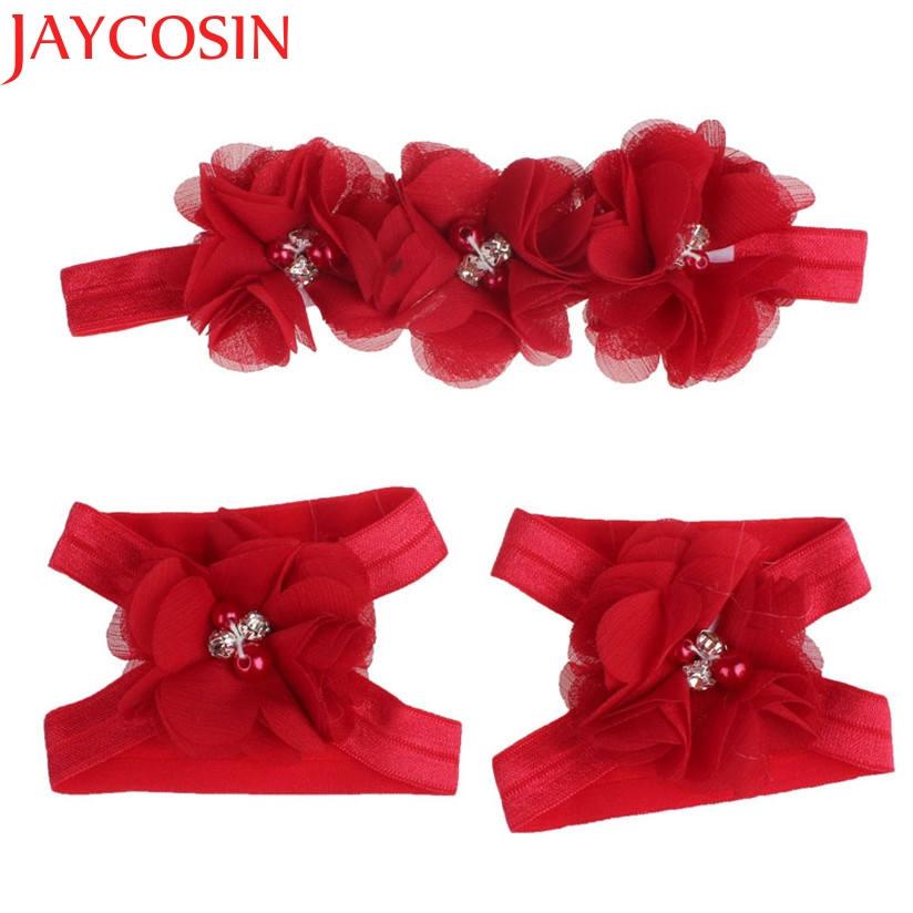 JAYCOSIN Foot Flower Barefoot Sandals + Headband Set hair accessories Girl headband cute hair band newborn floral headband цены онлайн