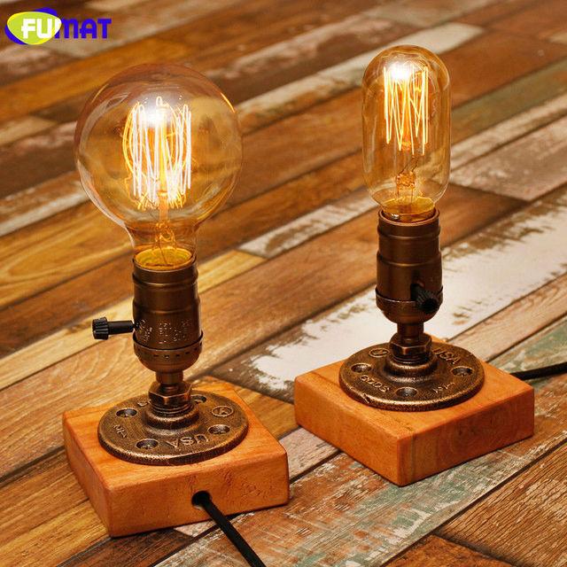Vintage Edison Bulb Table Lamp: FUMAT Loft Pipe Lamp Industrial Vintage Table Lamps E26