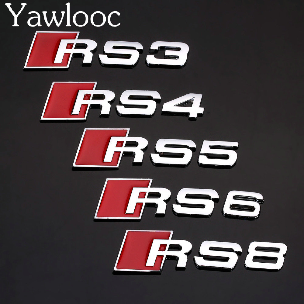 1 PC 3D Aluminum Alloy RS3 RS4 RS5 RS8 SLine Car Tail Sticker Emblem Badge Logo Metal Rear Tail For Audi