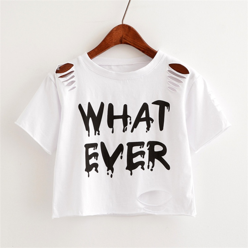 Chill Women Letter Print Hole Short Sleeves Short T-Shirt Casual Harajuku Style Summer Chic Street Wears