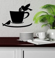 Wall Decal Birds Coffee Shop Cup Cafe Kitchen Decor Vinyl Stickers