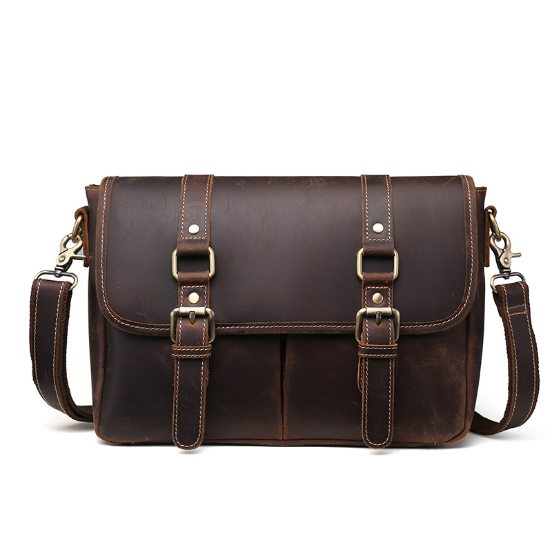 New European And American Style Crazy Horse Leather Men's Briefcase Male Top-Handle Bags Business Shoulder Messenger Bags LS9009