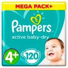 Подгузники Pampers Active Baby-Dry 9-16 кг, 4+ размер, 120 шт.
