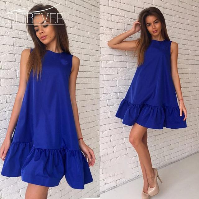 Shibever женские летние платья рюшами обувь для повседневной носки или вечеринки платье без рукавов Сексуальная женщина пляжное платье одноцветное плюс размер платья 2017 LD57