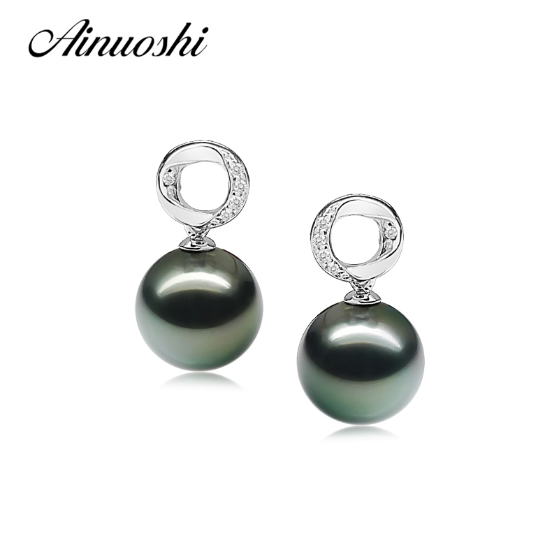 AINUOSHI Natural South Sea Black Tahiti Pearl 9.5-10mm Round Pearl Stud Earrings 925 Sterling Silver Women Stud Earrings Jewelry copper jewelry leopard head hanging pearl stud earrings tiger head green rhinestone black stud earrings for women