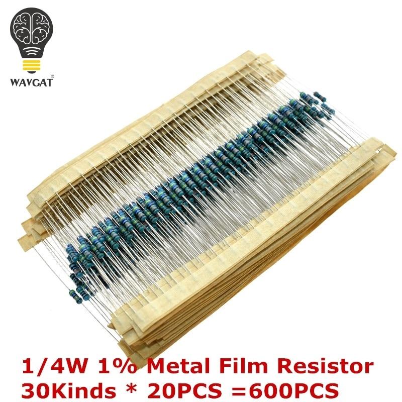 AEAK 600PCS /Set 1/4W Resistance 1% 30 Kinds Each Value Metal Film Resistor Assortment Kit Resistors