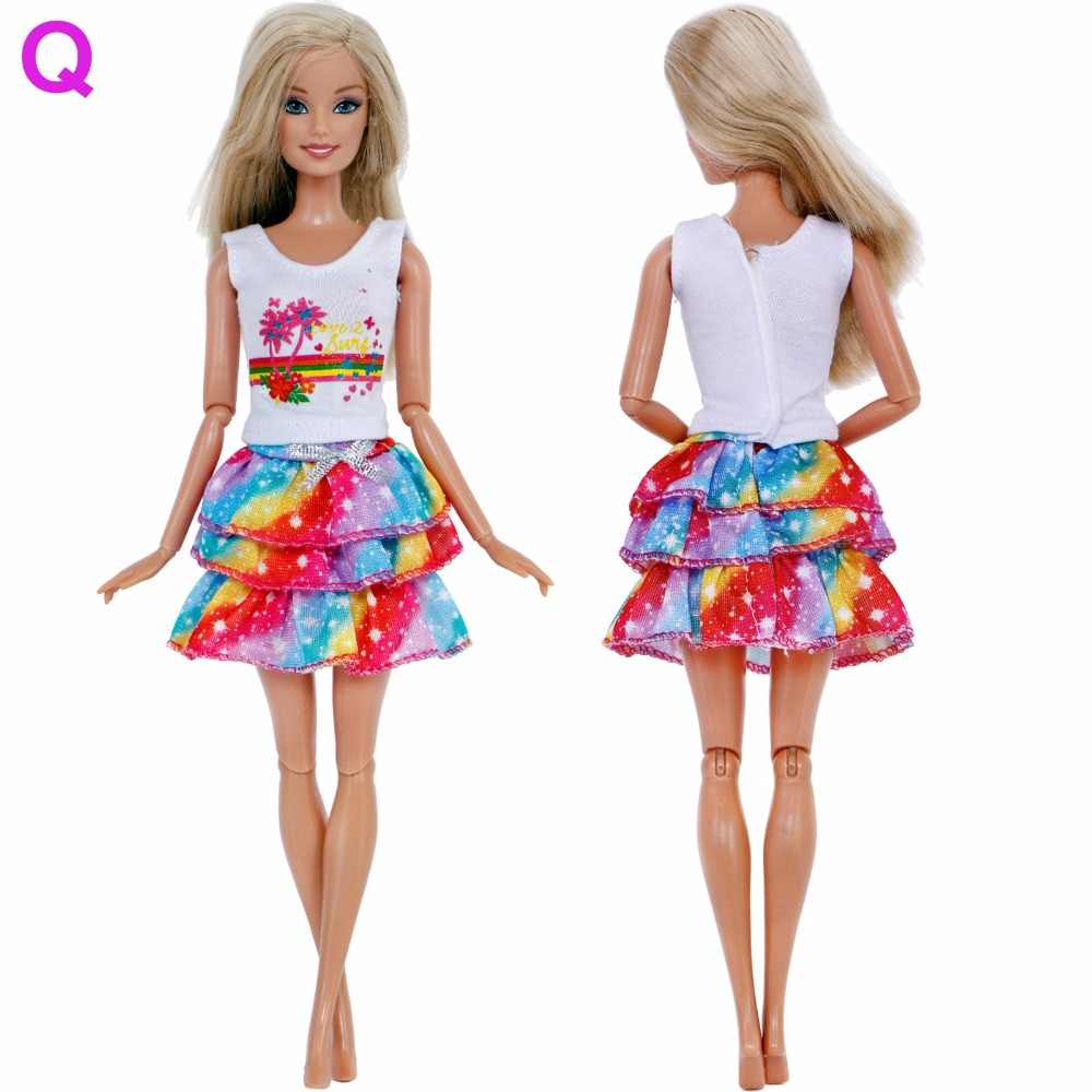 ... Handmade Outfit Mixed Style Dress Daily Casual Wear Tops Blouse Fashion  Pants Skirt Clothes For Barbie ... ac23f0622675