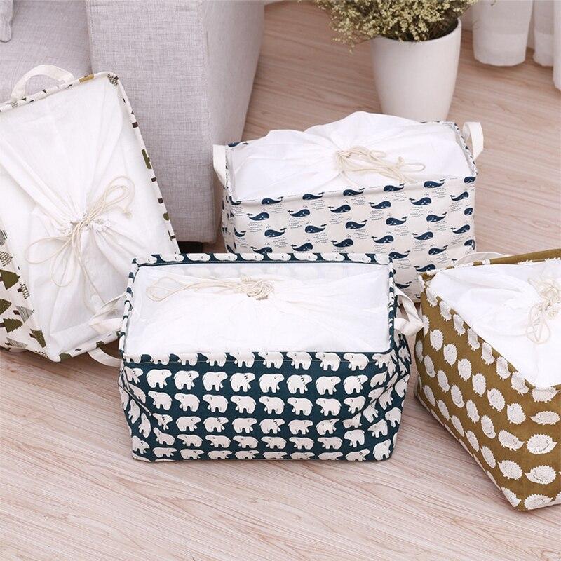 Waterproof Folding Storage Box Drawstring Kids Toy Boxes Bathroom Barrel Sundries Storage Basket Home Clothing Organizer