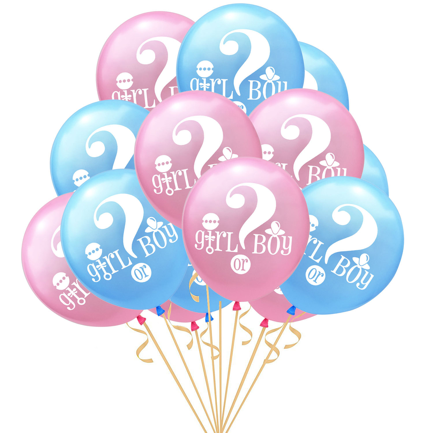 Pink and White Colors Two Baby Girl Foil Balloons plus 12 Latex Balloons Glamorous JILL Home Décor XXL Giant Foil Balloon Value Pack