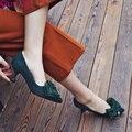 QUTAA Mujeres Bombea Zapatos de Las Señoras corbata de Lazo de Cuero de LA PU Púrpura Delgada Del Alto Talón de Punta estrecha Mujer Zapatos de Boda Tamaño 34-43