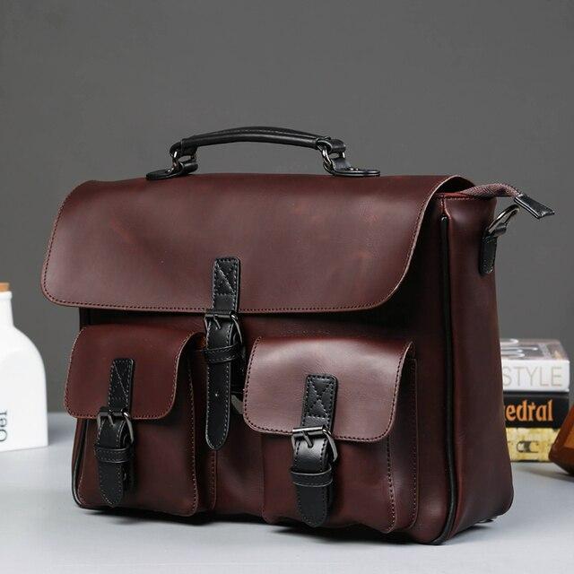 0c9c2e2c8 Hombres bolso vintage cartero bolsos hombres negocios laptop retro  top-handle bolsos cuero bolso hombre