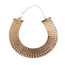 Fashion wide women choker necklace gold/silver color zinc alloy female chain necklaces neck jewelry collier femme