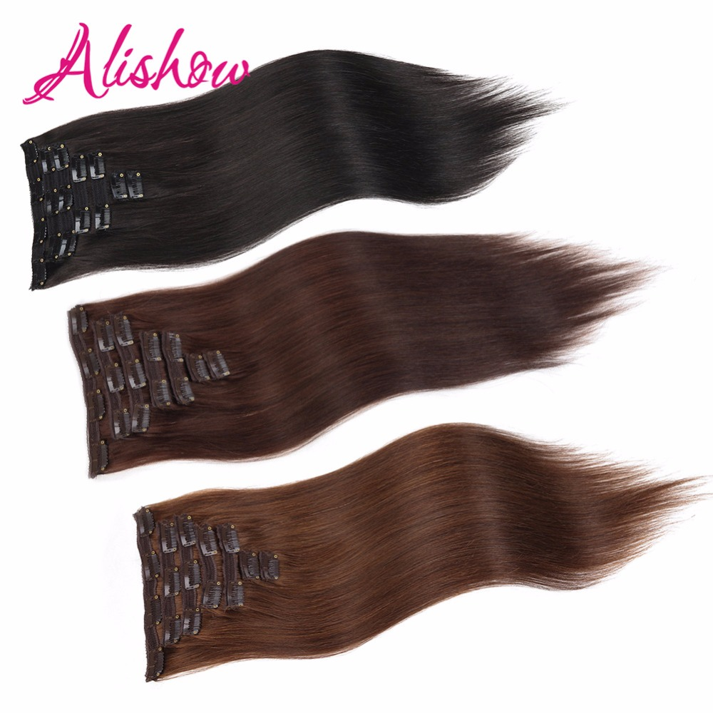 Alishow Full Head Straight Clip In Hair Human Hair Extensions 100% Remy Hair For  Women 160g 8 Pieces/Lot UPS Free Shipping(China)
