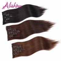 Alishow полный голову прямо зажим в волосах Пряди человеческих волос для наращивания 100% Волосы remy для Для женщин 160 г 8 шт./лот UPS Бесплатная дост