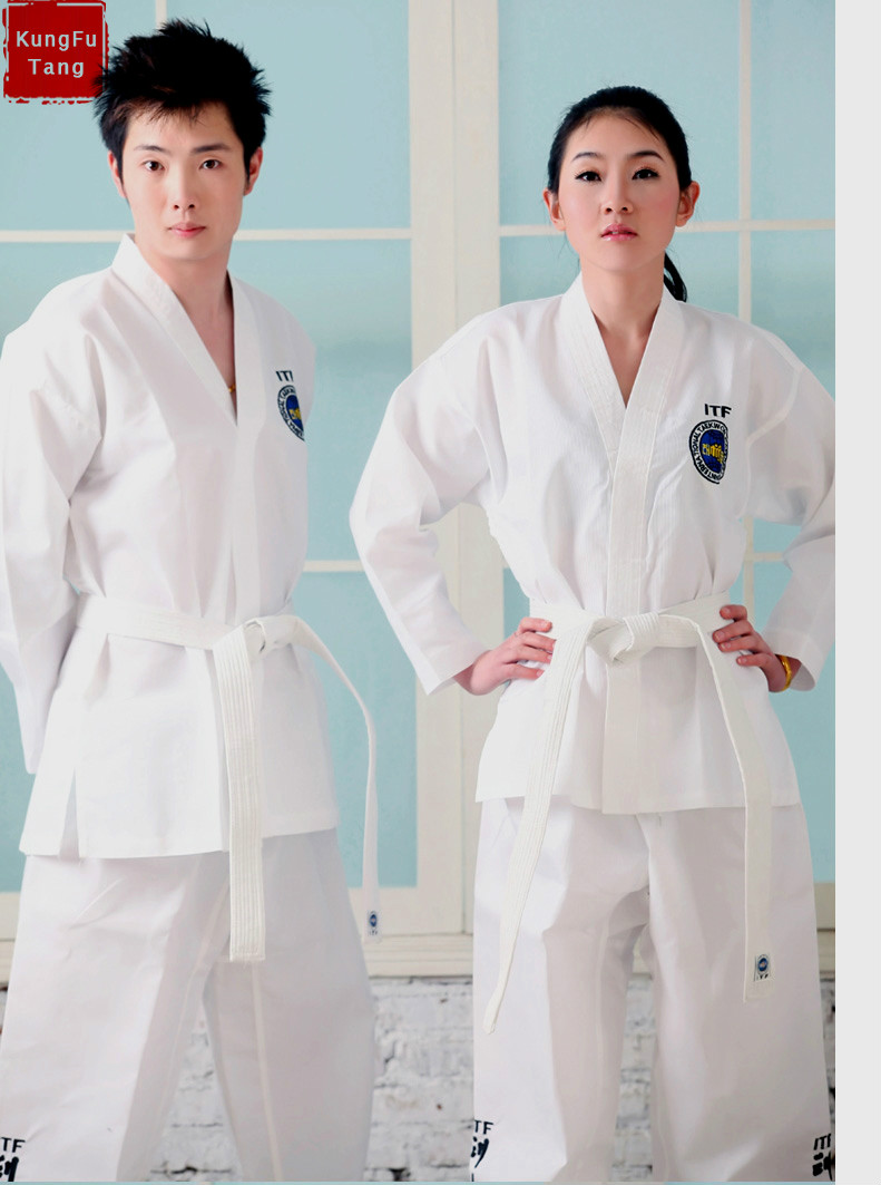 KungFuTang ITF Taekwondo uniformes Blanc enfants adulte taekwondo Karaté dobok Exquis Broderie tkd vêtements Kungfu wushu costume