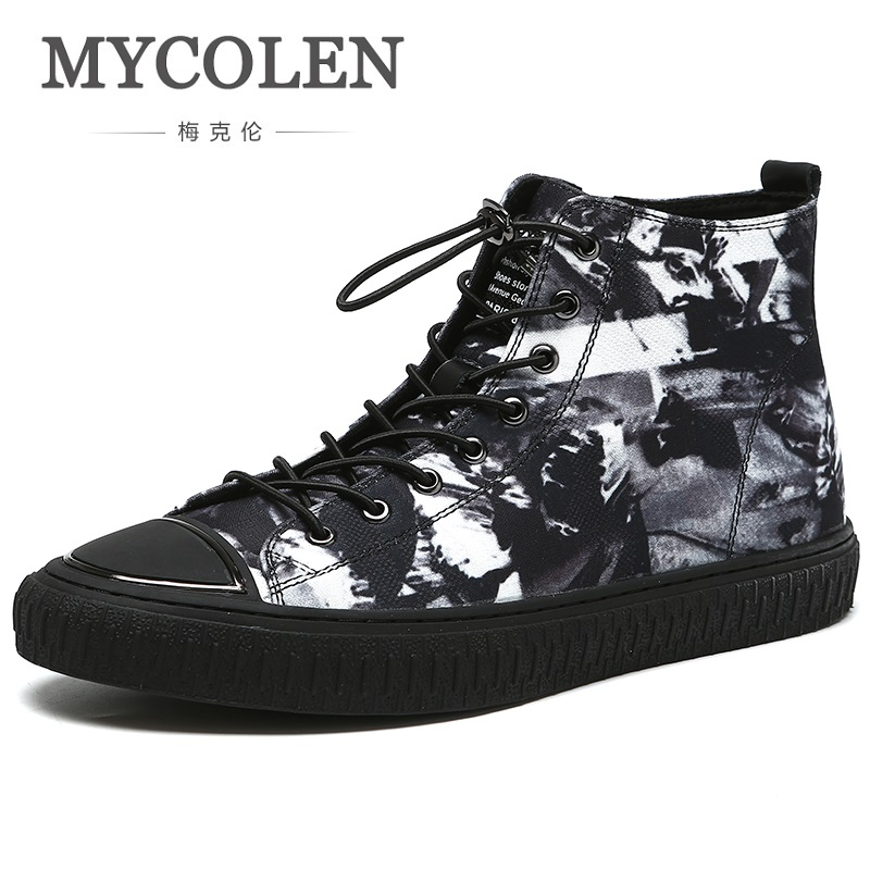 MYCOLEN 2018 New Spring/Autumn High Quality Genuine Leather Men's Martin Ankle boots high top Round Toe Street Style men shoes 2018 spring street flat genuine leather rivet women shoes high quality punk style hip hop round toe buckle high top sneakers