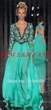 Abed Mahfouz Türkei Kaftan Langen Ärmeln V-ausschnitt Perlen Grüne Lange Abendkleider 2016 Neue Ankunft Chiffon Prom Kleider F & M953
