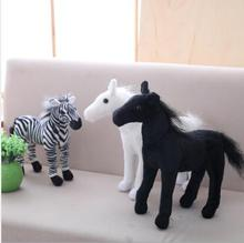 WYZHY Simulation Zebra White Horse Black Cloth Doll Plush Toy Child Ragdoll Boy Gift  50CM