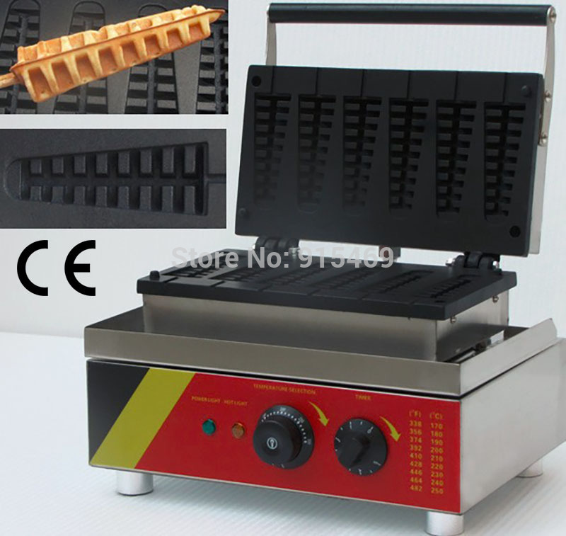 Free Shipping Commercial Use110v 220v Electric 6pcs Lolly Waffle Maker Iron Machine Baker with CE