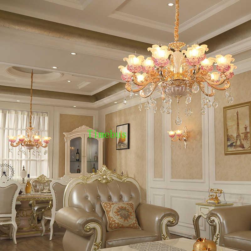 Хрустальная люстра для Гостиная хрустальная люстра Gold Hotel сеть ресторанов Люстра Освещение вилла Лестницы роскошный свет пурпурный Люстры потолочные Белая люстра с золотой подвесная люстра Люстра на цепи Хрустальна
