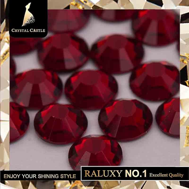 Crystal Castle 4A glass flatback rhinestone red Garnet non hot fix crystal none glue no hotfix strass rhinestones for nail Art