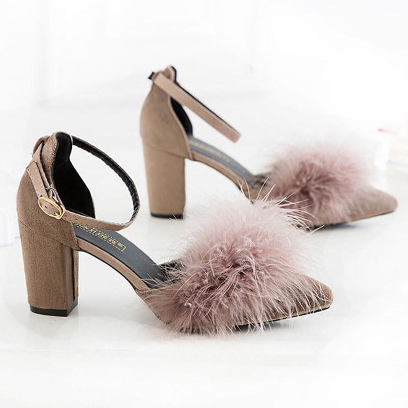 fashion women pumps Spring summer high heels real fur pointed toe shoes for women comfy square heels shoes women sandals quality women pumps sexy fashion style high quality high heels square toe square toe spring summer wear slip on comfortable lady shoes