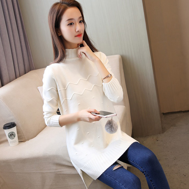 Plus size autumn winter  sweater long-sleeved warm casual sweater half-high collar loose Elasticity sweater
