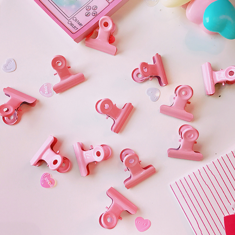 3 Pcs/Lot Pink Metal Round Clips File Clip Organizer Papelaria Kawaii Stationery Office School Supplies