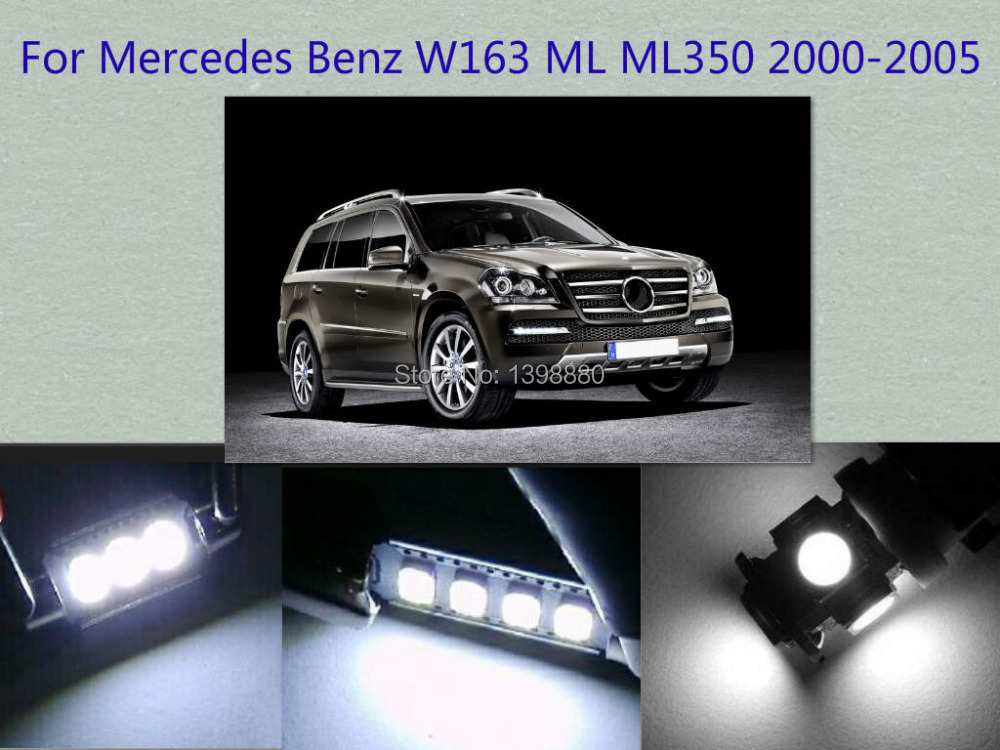 Error Free Canbus 11PCS White LED Interior Package kit For W163 ML ML350 2000-2005 Map Dome Box Courtesy Tag Lights