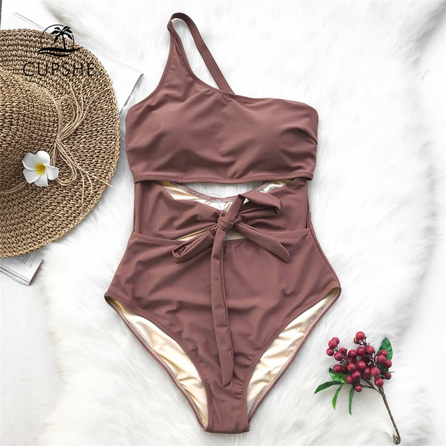 6f6a1a9362b1af CUPSHE Air Of Romance Solid One-piece Swimsuit Backless Ruffles Summer Sexy  Bikini Set Ladies Beach Bathing Suit Swimwear