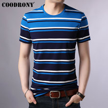COODRONY Cotton T Shirt Men 2019 Spring Summer Short Sleeve T-shirt Streetwear Fashion Striped O-Neck Tee Homme S95016