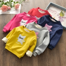 New autumn and winter 2017 children's shirt plus velvet thick sweater boys and girls cartoon cat warm shirt children's clothing