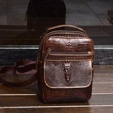 ワニのパターン牛革革の男性の胸バッグ男性財布クロスボディバッグ男性トートバッグハンドバッグ携帯電話ポケットショルダーバッグ