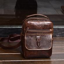 Timsah desen dana deri Erkek göğüs çantası erkek çanta Crossbody çanta erkek tote çanta çanta cep telefon cebi omuzdan askili çanta