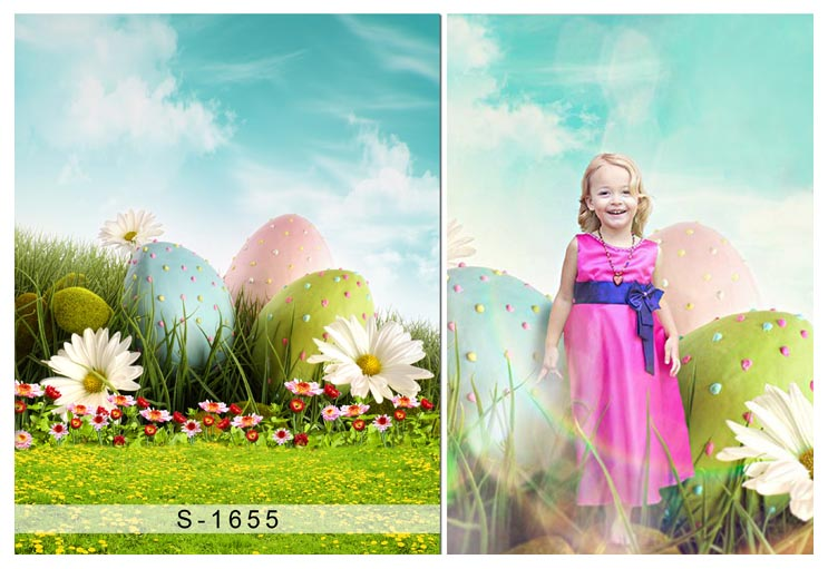 Custom vinyl cloth spring Easter eggs photography backdrops for children party photo studio portrait backgrounds props S-1655 300cm 300cm vinyl custom photography backdrops prop digital photo studio background s 4748