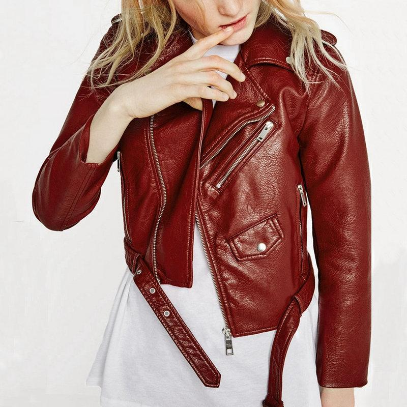 Lady Bomber Motorcycle Winter Wine Red Jackets New Fashion Women Autumn Cool Coat with Belt Hot Sale