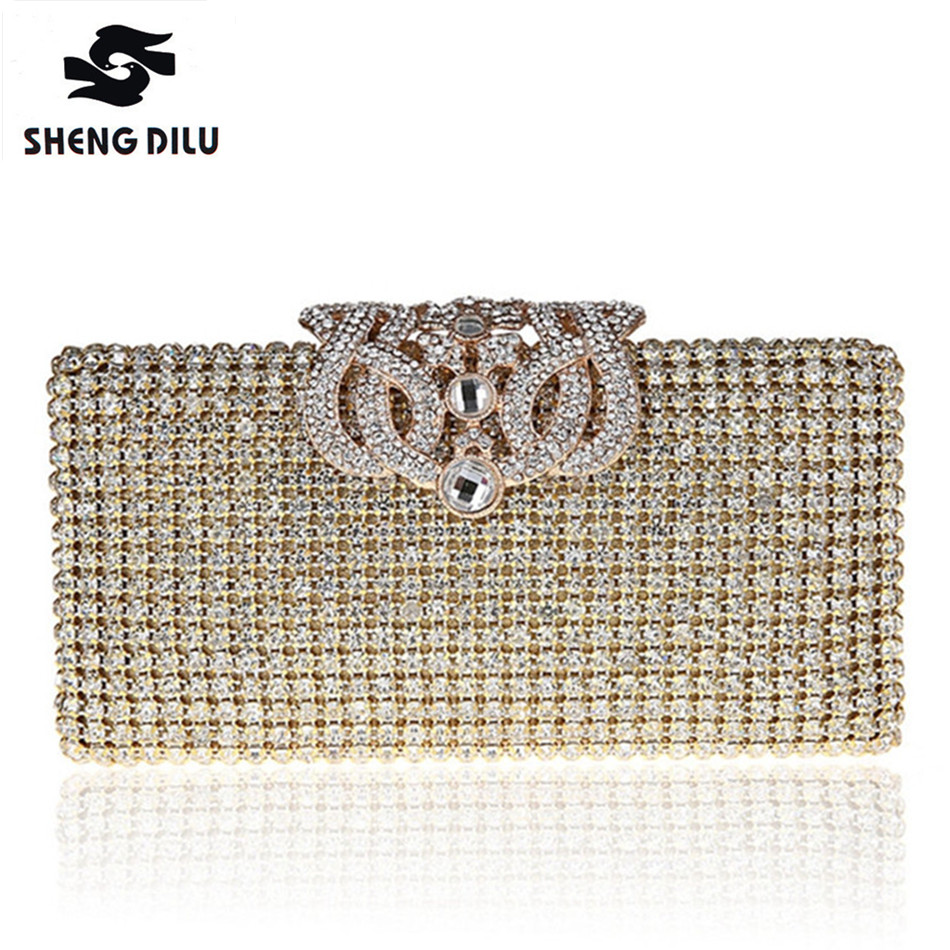 Socialite Ladies Bag For Women New 2017 Evening Bags Ladies Wedding Party Bag 2 Sides Crystal Gold Clutch Diamonds Purses ZH228 new women long shape evening bags ladies wedding party clutch bag box crystal beading diamonds purses smyzh f0092