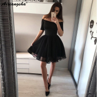 Hot A Line Off the Shoulder Half Sleeve Red Short Prom Dress Graduation Homecoming Dresses Chic Little Black Dress