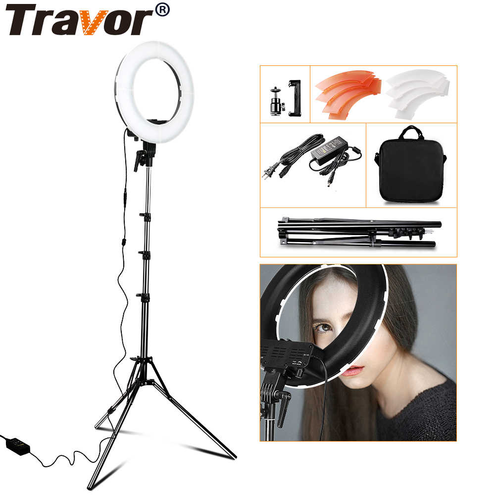 TRAVOR RL-12 196 LED 45W LED Ring Light Dimmable Ringlight 3200K 5500K Photography Ring Light Lamp makeup with 2M Tripod Stand