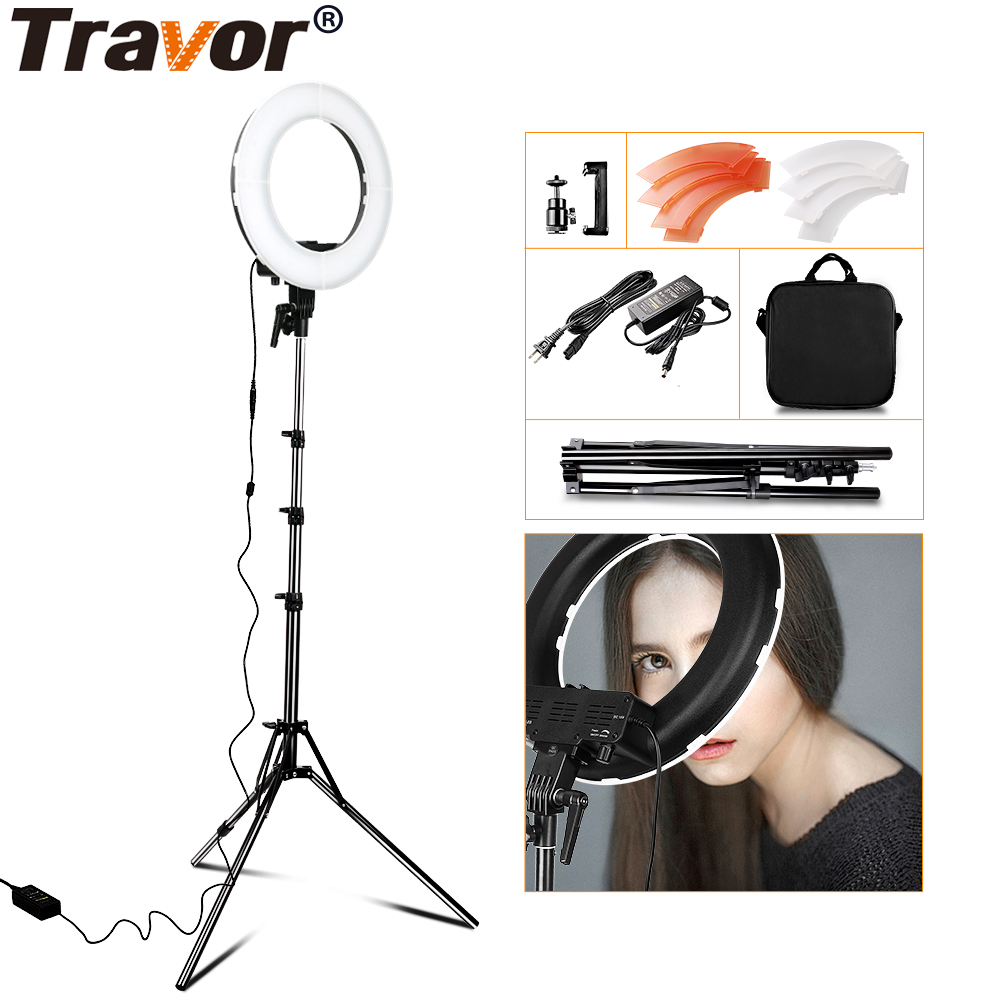 RL-12 12 Photography Photo Studio 196 LED Ring Light 3200K/5500K Dimmable Camera Ring Video Light Lamp with 2M Tripod Stand fotopal led ring light for camera photo studio phone video 1255w 5500k photography dimmable ring lamp with plastic tripod stand