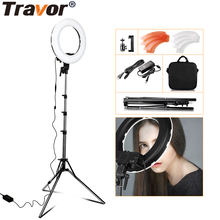Travor RL-12 12 180 LED Camera Ring Light Video/Photo/phone Panel Lamp CRI 90+ Color 5500K Dimmable Studio Photography Lighting samtian 2sets led video light with tripod dimmable 3200 5500k 600 leds panel lamp for studio photo photography lighting