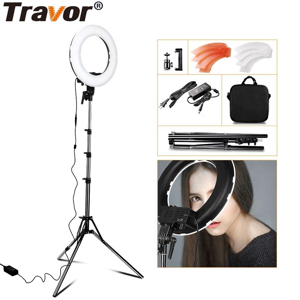 TRAVOR RL-12 196 LED 45W LED anneau lumière Dimmable Ringlight 3200K 5500K photographie anneau lumière lampe maquillage avec 2M trépied Stand