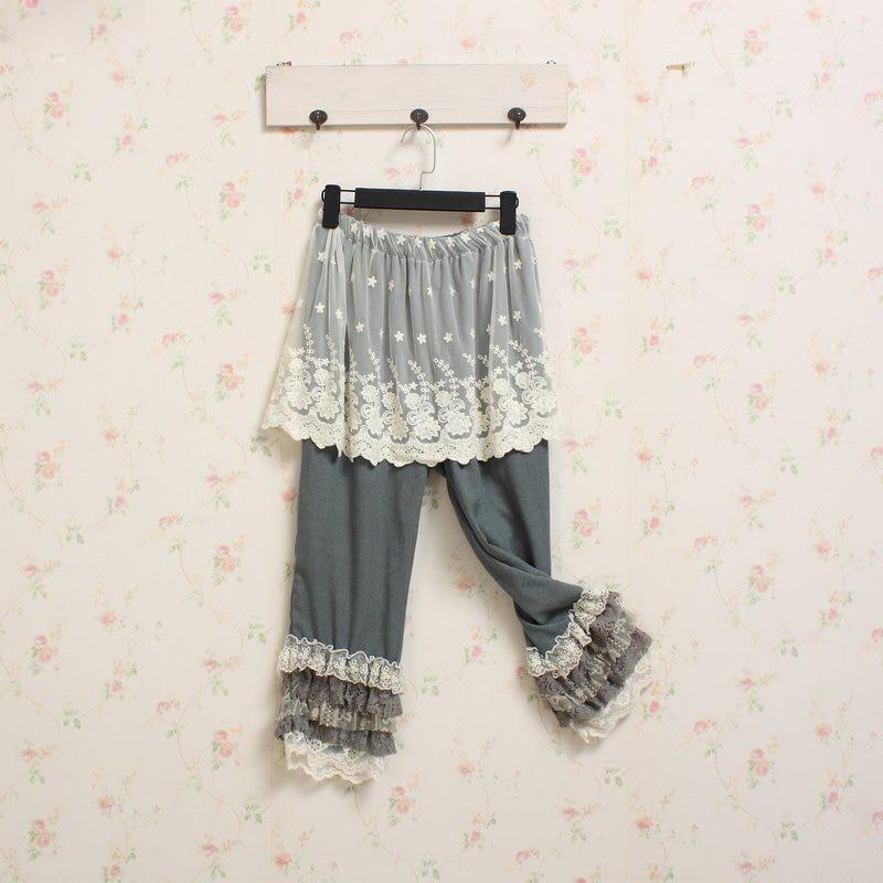 Pantalon Mori Girl Hippie Lolita Bohemian Vintage Layer Ruffle Patchwork Women Summer Elastic Waist Lace Up Summer   Pants     Capri
