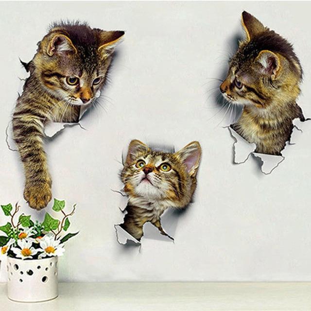Merveilleux 1pcs Wall Sticker Cute 3D Kitten Cat Bedroom Fridge Toilet Wall Decal Home  Mural Art Decor