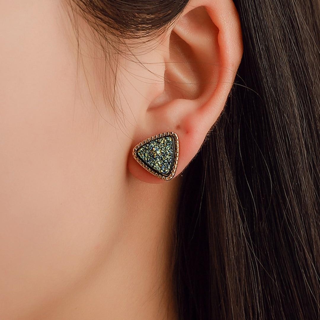 Vintage Mini Polished Rhinestone Crystal Geometric Triangle Earring Stud Women Girl Cute Earring Ear Piercing Jewelry Shellhard in Stud Earrings from Jewelry Accessories