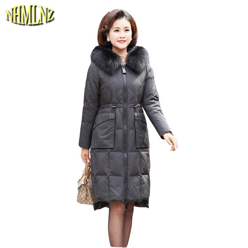 New Fashion Warm Hooded Middle-aged Fur collar White duck   down   Loose Women   Down     Coat   Winter High quality Women   Down     Coat   LH373