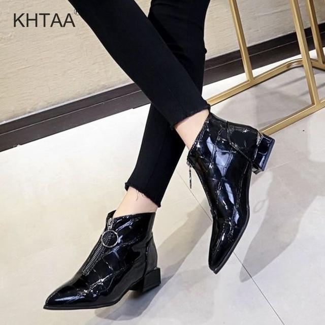 Kadın Düşük Topuklu yarım çizmeler Bahar Sonbahar Pompaları Kadın Gladyatör Halka Fermuar Sivri Burun Patent deri ayakkabı kadın ayakkabıları