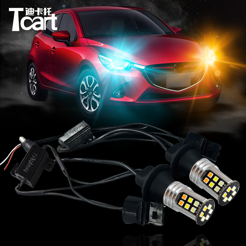 Tcart 1Set Auto Led Lamps DRL Daytime Running Lights Night Time Running Light Yellow Turn Signals T20 7440 For Mazda 2 2014-2017 tcart 1 set auto led bulbs car drl daytime running lights night drl yellow turn signals lamps py21w bau15s for mazda 3 2003 2009