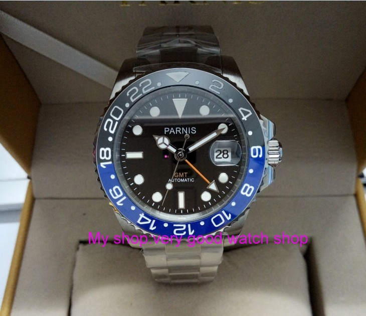 40mm PARNIS Sapphire Crystal Japanese GMT Automatic machinery movement mens watch blue&Black rotateing bezel xjp8A40mm PARNIS Sapphire Crystal Japanese GMT Automatic machinery movement mens watch blue&Black rotateing bezel xjp8A